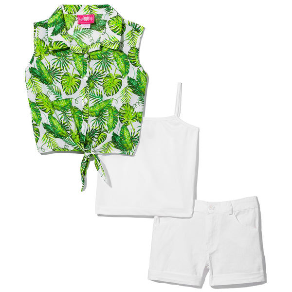Tropical Illusion Girls 3-Piece Short Set - Citi Trends Girls - Tie Front