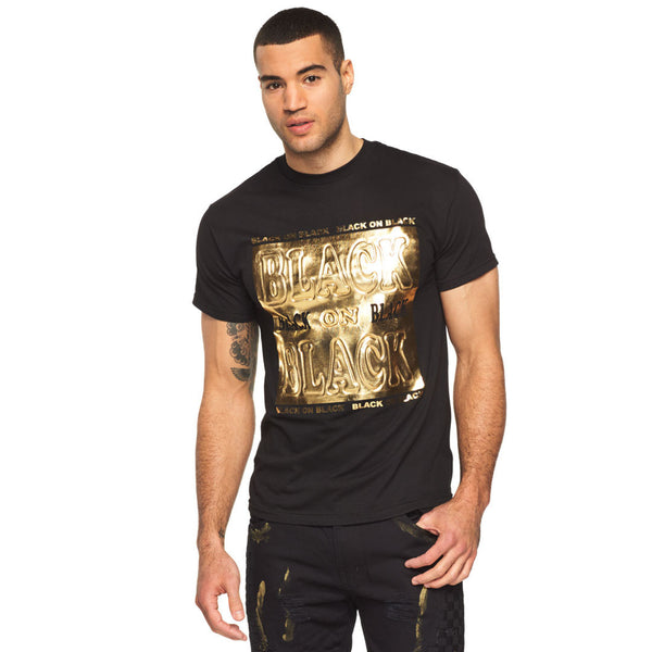 Black On Black 3D Gold Foil Graphic Tee - Citi Trends Mens - Front