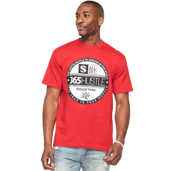 365 Hustle Red Short Sleeve Graphic Tee - Citi Trends Mens - Front