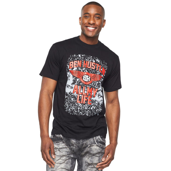 Ben Hustln All My Life Black Graphic Tee - Citi Trends Mens - Front