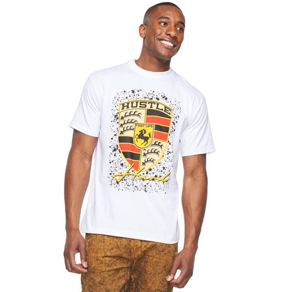 Hustle Hard, Fast Life White Graphic Tee - Citi Trends Mens - Front