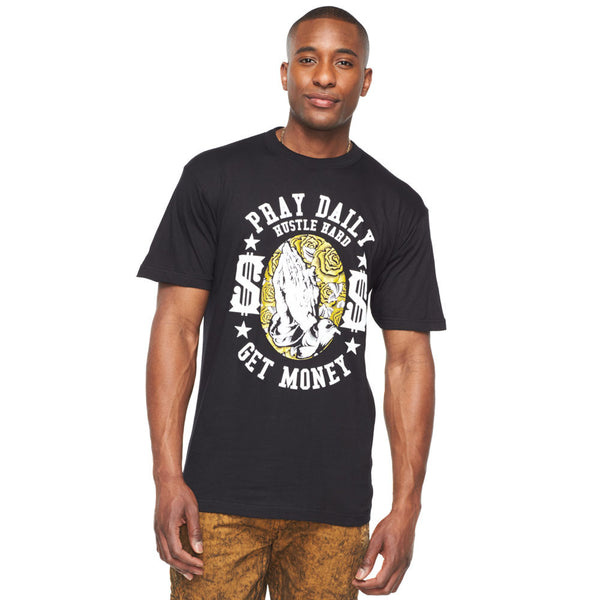 Pray Daily, Hustle Hard, Get Money Black Graphic Tee - Citi Trends Mens - Front