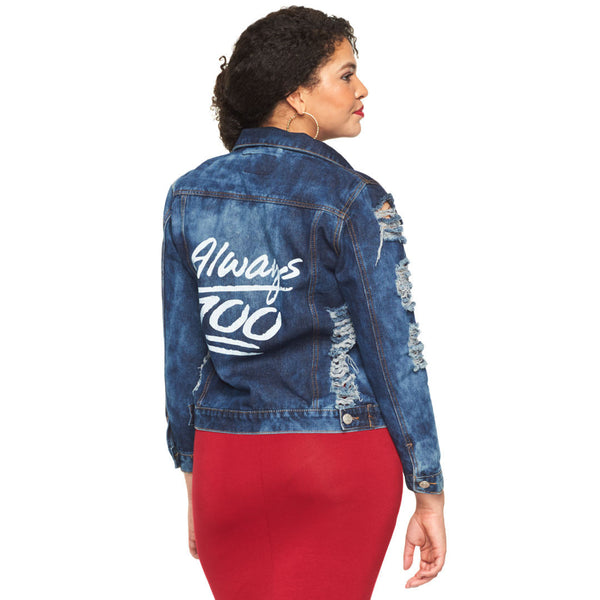 Always 100 Dark Cloud Wash Distressed Denim Jacket - Citi Trends Plus - Back