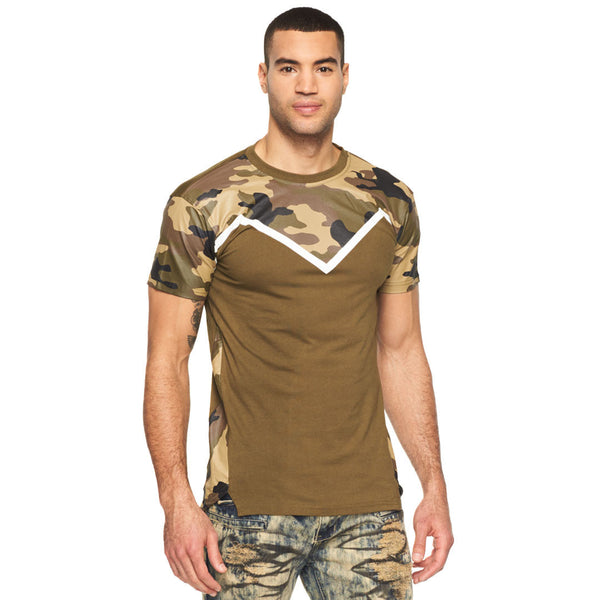 Camo Connection Olive Colorblock Tee - Citi Trends Mens - Front