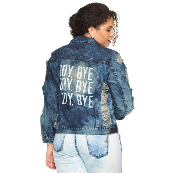 Boy, Bye Cloud Wash Distressed Denim Jacket - Citi Trends Plus - Back