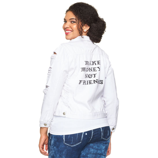 Make Money Not Friends White Distressed Denim Jacket - Citi Trends Plus - Back