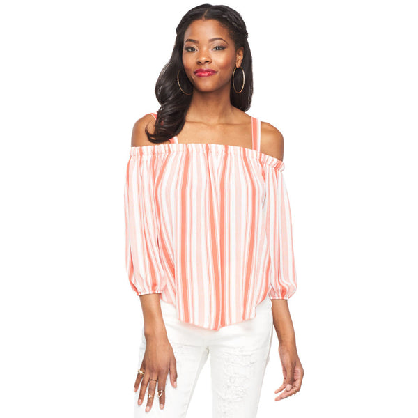 Stripes For Days Coral/White Off-The-Shoulder Top - Citi Trends Ladies - Front