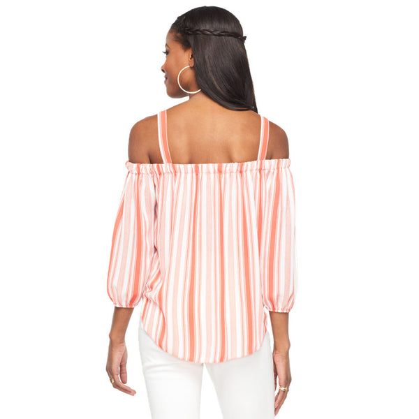Stripes For Days Coral/White Off-The-Shoulder Top - Citi Trends Ladies - Back