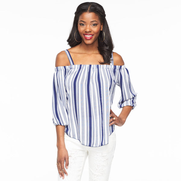 Stripes For Days Navy/White Off-The-Shoulder Top - Citi Trends Ladies - Front