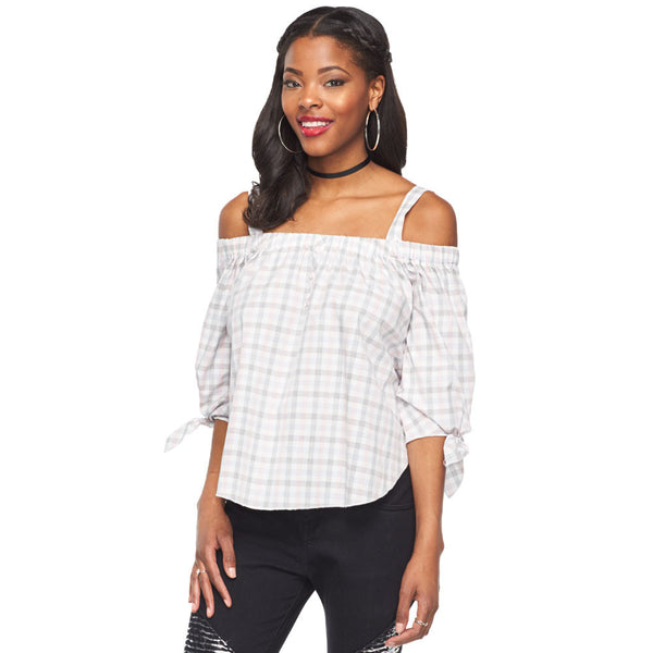 Plaid To Meet You Pink Off-The-Shoulder Top - Citi Trends Ladies - Front