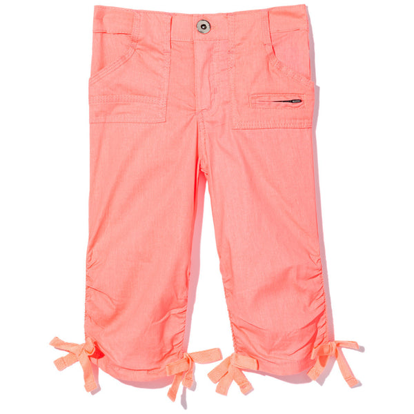 Long Story Short Girls Neon Orange Ruched Capri - Citi Trends Girls - Front