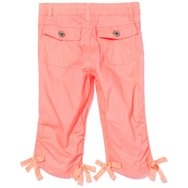 Long Story Short Girls Neon Orange Ruched Capri - Citi Trends Girls - Back