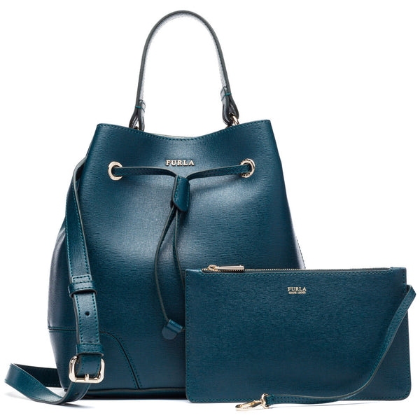 Furla Small Stacy Petrolio Bucket Bag - Citi Trends Designer - Front