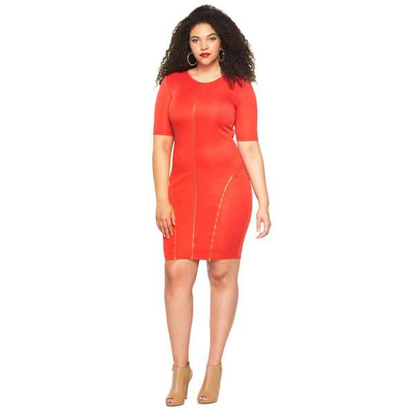 Zip It To The Curve Red Bodycon - Citi Trends Plus - Front