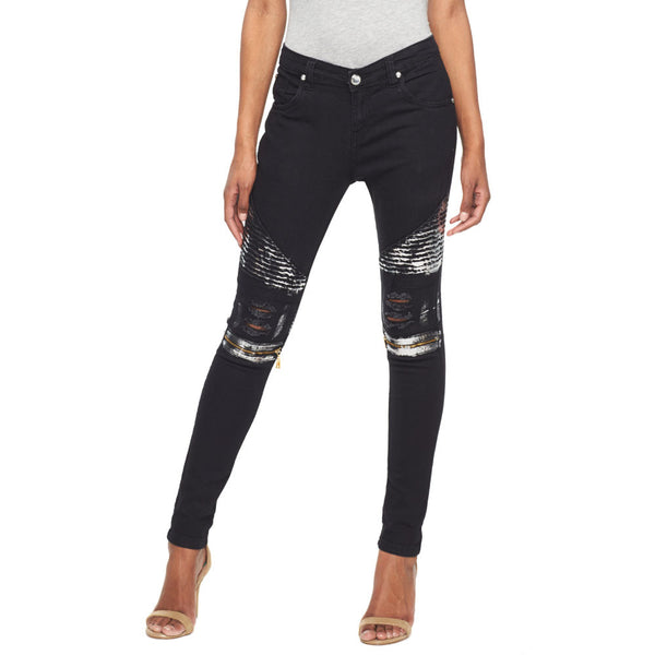 Metallic State Of Mind Black Moto Jean With Silver Foil