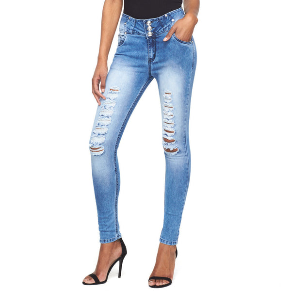 On Cloud Nine 3-Button High-Waist Skinny Jean - Citi Trends Ladies - Front