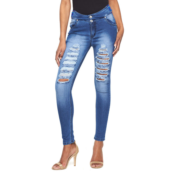 Bad To The Bone High-Waist Skinny Jean With Striped Waistband - Citi Trends Ladies - Front