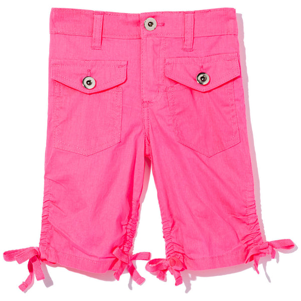 Beach Bound Girls Neon Pink Ruched Bottom Bermuda Short - Citi Trends Girls - Front