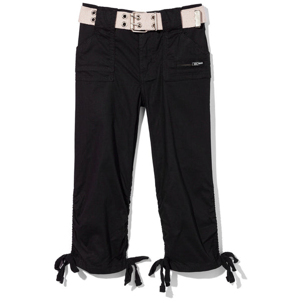 In The Pocket Girls Black Belted Capri Pant - Citi Trends Girls - Front