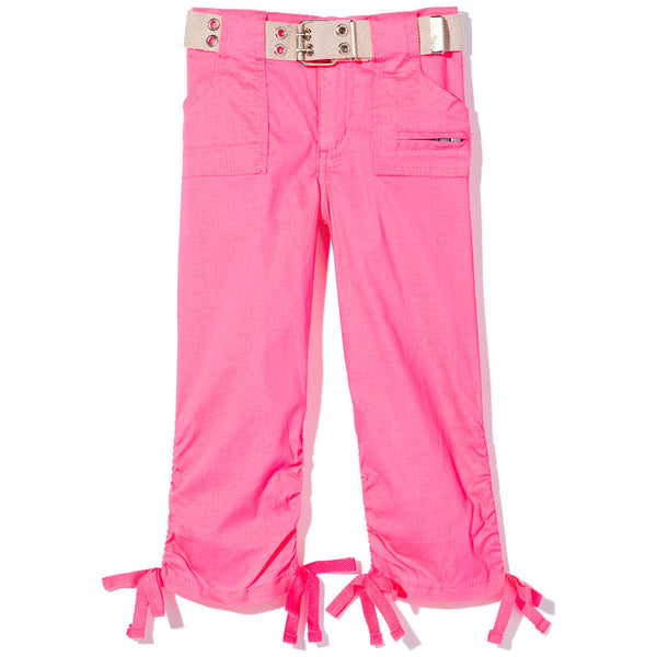 In The Pocket Girls Neon Pink Belted Capri Pant - Citi Trends Girls - Front