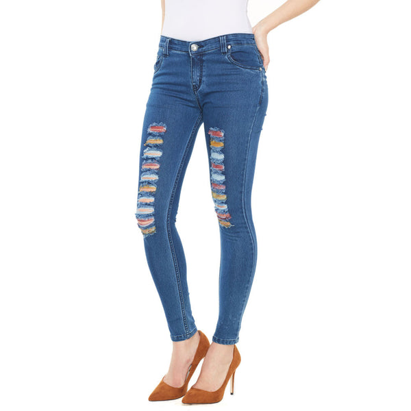A Tear For Color Dark Blue Distressed Skinny Jean - Citi Trends Ladies - Front