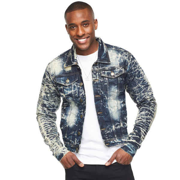 Crinkle To The Max Bleach Denim Jacket - Citi Trends Mens - Front