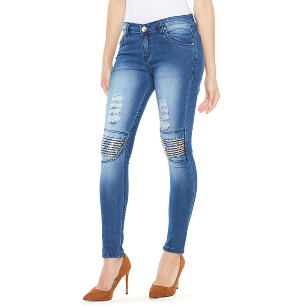 Metallic Or Nothing Medium Blue Skinny Jean - Citi Trends Ladies - Front
