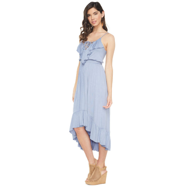 All About The Ruffles Light Blue High-Low Dress - Citi Trends Ladies - Front