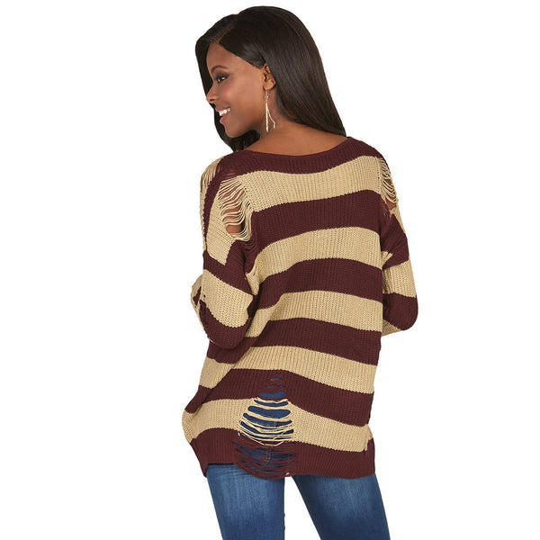 A Rip In Time Distressed Striped Rugby Sweater - Citi Trends Juniors - Back