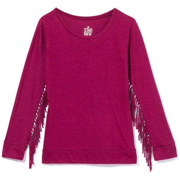 Cranberry Long-Sleeve Shirt With Fringe Trim Sleeves - Citi Trends Girls - Front