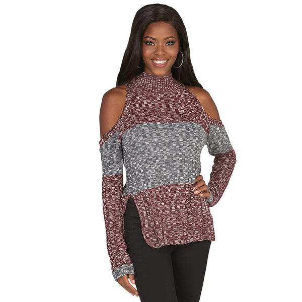 Subtly-Sexy Burgundy Cold Shoulder Mock-Neck Sweater - Citi Trends Juniors and Plus - Front