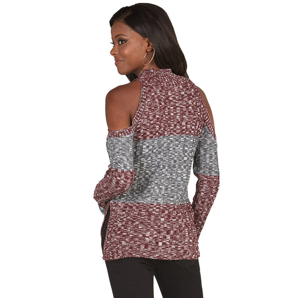 Subtly-Sexy Burgundy Cold Shoulder Mock-Neck Sweater - Citi Trends Juniors and Plus - Back