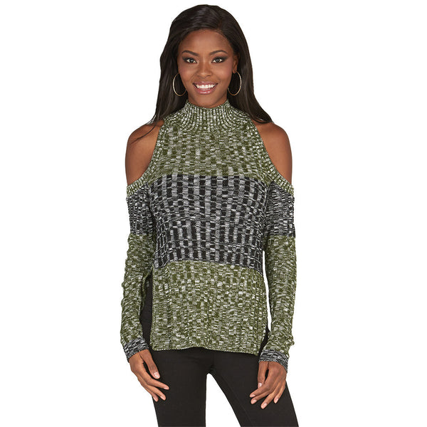 Subtly-Sexy Olive Cold Shoulder Mock-Neck Sweater - Citi Trends Juniors and Plus - Front