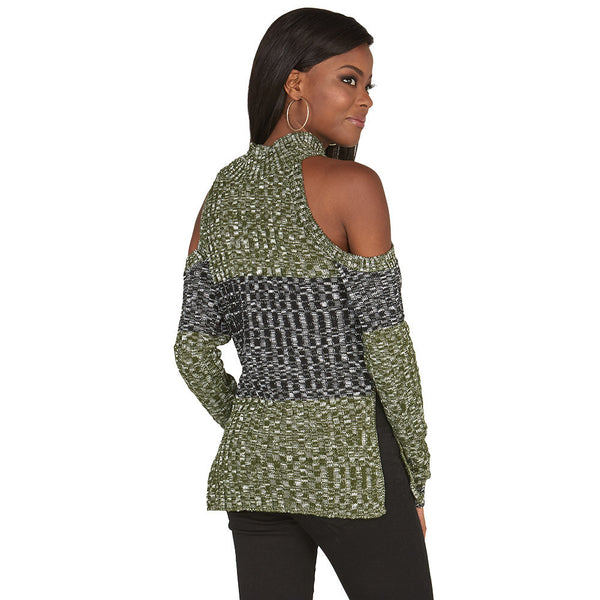 Subtly-Sexy Olive Cold Shoulder Mock-Neck Sweater - Citi Trends Juniors and Plus - Back