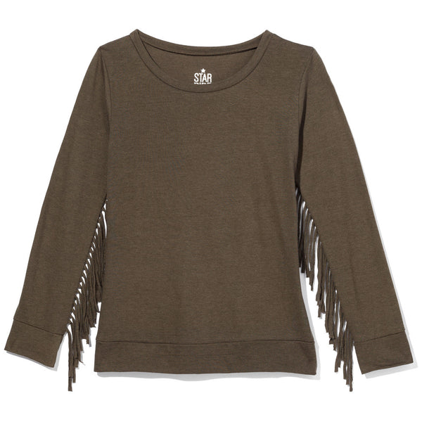 Olive Long-Sleeve Shirt With Fringe Trim Sleeves - Citi Trends Girls - Front