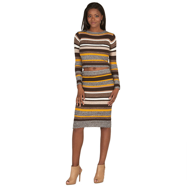Brown and Mustard Long-Sleeve Striped Knit Crop Top - Citi Trends Juniors - Full Length Front