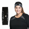 Norah Reversible Headband - Rainbeau Curves, One Size / Black Moroccan Mystic, activewear, athleisure, fitness, workout, gym, performance, womens, ladies, plus size, curvy, full figured, spandex, cotton, polyester - 5