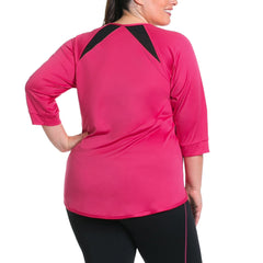 Miranda Pullover - Rainbeau Curves, 14/16 / Pink Posey, activewear, athleisure, fitness, workout, gym, performance, womens, ladies, plus size, curvy, full figured, spandex, cotton, polyester - 3