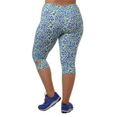 Maya Geo Print Capri - Rainbeau Curves, 14/16 / Geo Blue Skies, activewear, athleisure, fitness, workout, gym, performance, womens, ladies, plus size, curvy, full figured, spandex, cotton, polyester - 3
