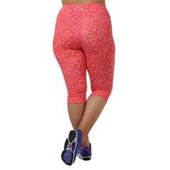 Maya Geo Print Capri - Rainbeau Curves, 14/16 / Geo Passion Pink, activewear, athleisure, fitness, workout, gym, performance, womens, ladies, plus size, curvy, full figured, spandex, cotton, polyester - 2