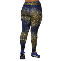 Jaclynn Lace Print Legging - Rainbeau Curves, 14/16 / Blue Lace, activewear, athleisure, fitness, workout, gym, performance, womens, ladies, plus size, curvy, full figured, spandex, cotton, polyester - 2