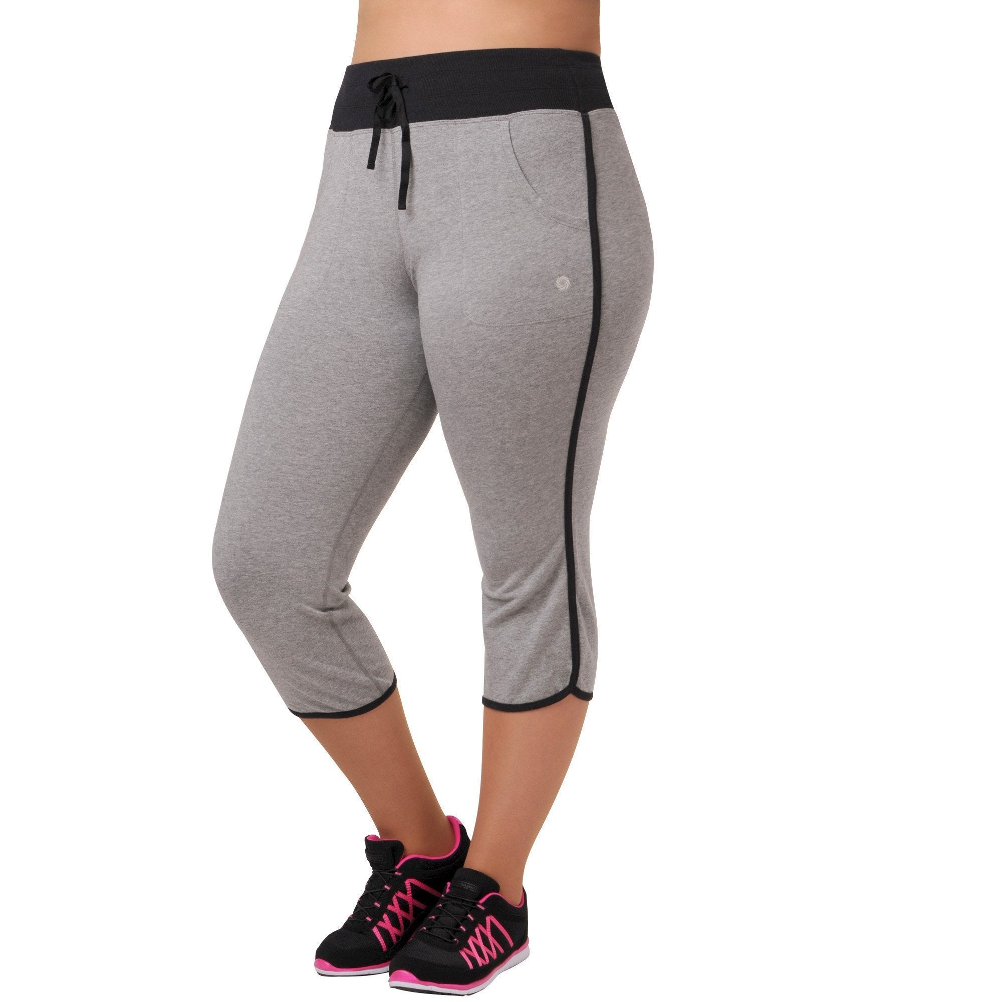 Olivia Capri - Rainbeau Curves, 14/16 / Heather Grey, activewear, athleisure, fitness, workout, gym, performance, womens, ladies, plus size, curvy, full figured, spandex, cotton, polyester - 1