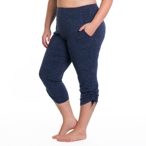 Masha Capri - Rainbeau Curves, 14/16 / Marled Midnight, activewear, athleisure, fitness, workout, gym, performance, womens, ladies, plus size, curvy, full figured, spandex, cotton, polyester - 1