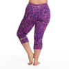 Maya Radiance Print Capri - Rainbeau Curves, 18/20 / Radiance Plum, activewear, athleisure, fitness, workout, gym, performance, womens, ladies, plus size, curvy, full figured, spandex, cotton, polyester - 3