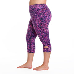 Maya Radiance Print Capri - Rainbeau Curves, 14/16 / Radiance Plum, activewear, athleisure, fitness, workout, gym, performance, womens, ladies, plus size, curvy, full figured, spandex, cotton, polyester - 1