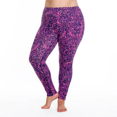 Jaclynn Radiance Print Legging - Rainbeau Curves, 14/16 / Plum Radiance, activewear, athleisure, fitness, workout, gym, performance, womens, ladies, plus size, curvy, full figured, spandex, cotton, polyester - 3