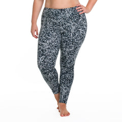 Jaclynn Radiance Print Legging - Rainbeau Curves, 14/16 / Black Radiance, activewear, athleisure, fitness, workout, gym, performance, womens, ladies, plus size, curvy, full figured, spandex, cotton, polyester - 1