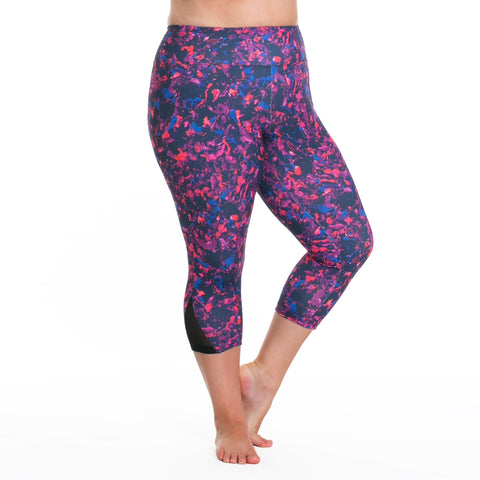 Zoe Print Capri - Rainbeau Curves, 14/16 / Winter Garden, activewear, athleisure, fitness, workout, gym, performance, womens, ladies, plus size, curvy, full figured, spandex, cotton, polyester - 1