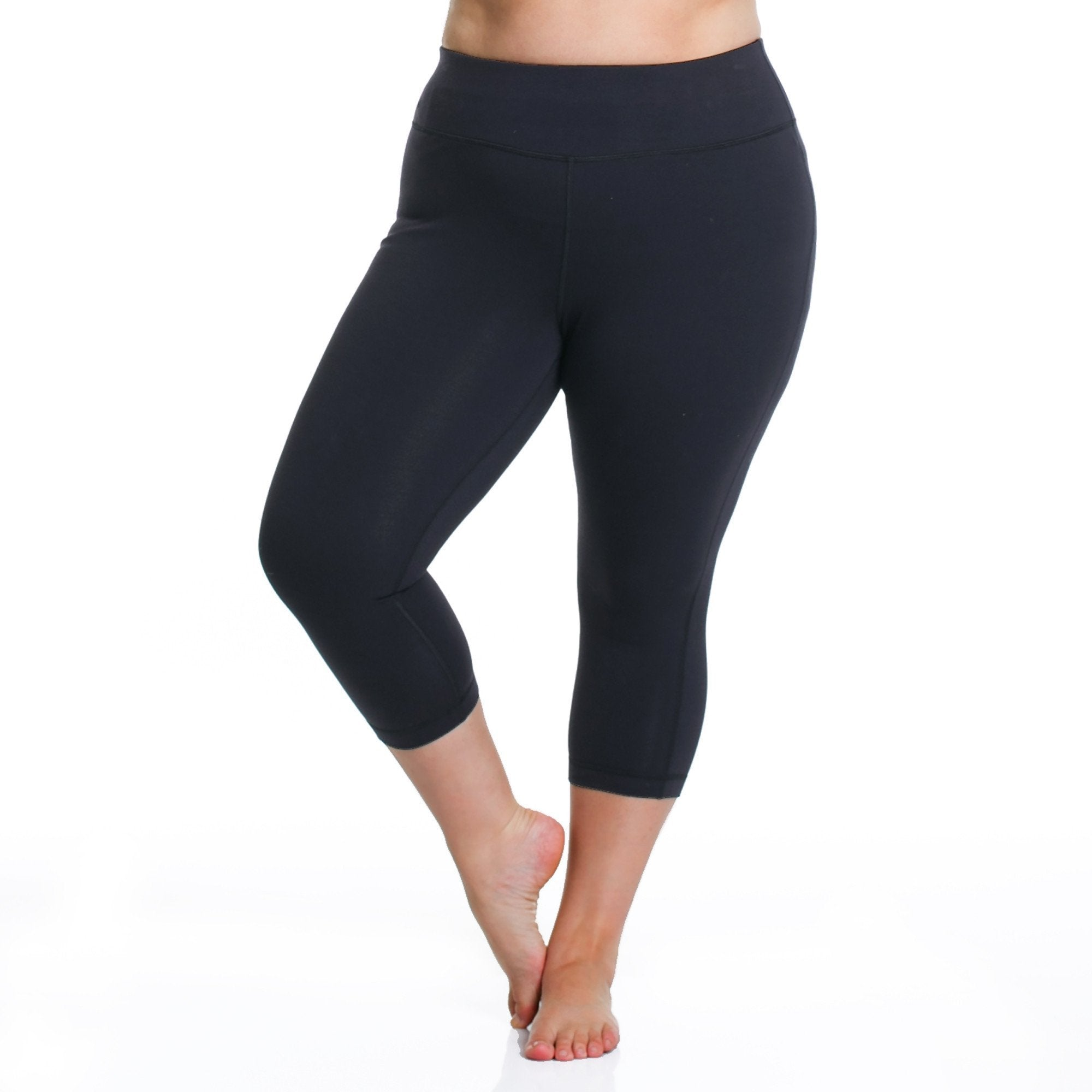 Curve Basix Capri - Rainbeau Curves, 14/16 / Black, activewear, athleisure, fitness, workout, gym, performance, womens, ladies, plus size, curvy, full figured, spandex, cotton, polyester - 1
