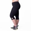 Lilia Capri - Rainbeau Curves, 14/16 / Black, activewear, athleisure, fitness, workout, gym, performance, womens, ladies, plus size, curvy, full figured, spandex, cotton, polyester - 1
